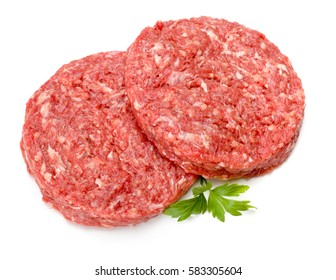 Top-view of raw hamburger meat on white