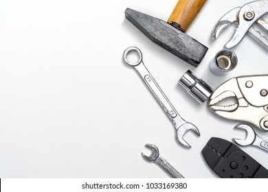 top-view of repair tools with space