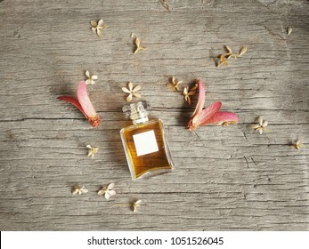 Topview of square blank fragrance bottle on brown wood background.