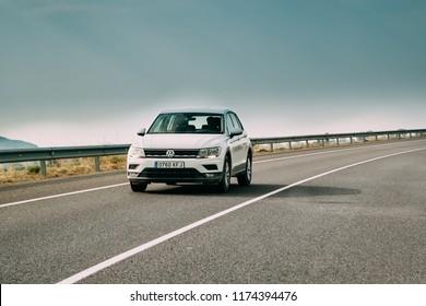 Tor, Girona, Spain - May 17, 2018: 2018 Volkswagen Tiguan SE Nav TSi 1.4 Car Of White Color In Motorway.