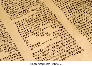 Torah scroll (Opened to Exodus Chapter 20, the Ten Commandments)