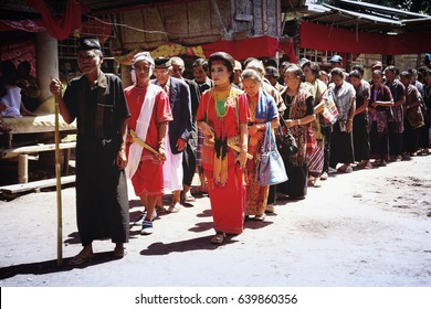 Toraja Funeral Ceremony Rambu Solo ,Tana Toraja, South Sulawesi. Toraja people have unique traditional ceremony called Rambu Solo. Procession at the funeral in Tana Toraja.February 2015.