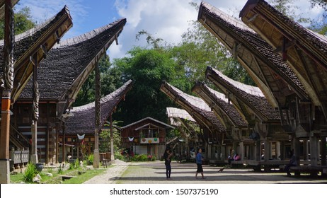 Toraja, Indonesia- Juni 2019: Rice barns and traditional houses of the Toraja people called Tongkonan are located in Toraja, South Sulawesi, Indonesia