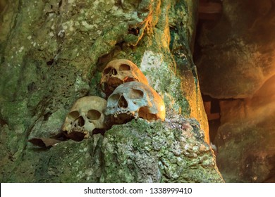 Toraja, South East Sulawesi / Indonesia - December 29, 2012 : human skull at one of Londa tombs in Toraja. Toraja has tradition of storing corpses in caves and rock burrows, become tourist destination
