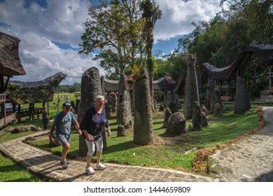 toraja, sulawesi - August 24, 2018 : a pair of tourists are enjoying one of the tourist attractions in Toraja