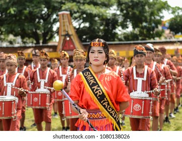 Toraja, Sulawesi Selatan / Indonesia - December 28th 2017: Young beautiful charismatic Toraja woman lead the marching band during annual event of Toraja Lovey December.