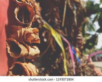 toran (dried leaves attached to a string) at temple.