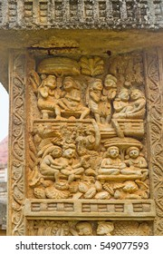 The Torana Gate of Mihintale replica of Great Sanchi Stupa decorated with carved panel, depicting people's life, Sri Lanka.