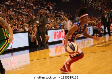 Torch guard for the Harlem Globetrotters at Talking Stick Resort Arena in Phoenix Arizona USA August 11,2018.