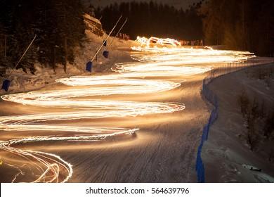 Torchlight skiing