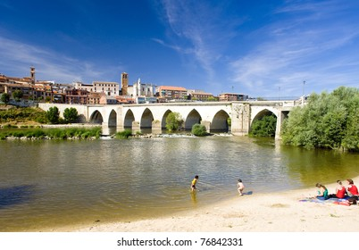 Tordesillas with medieval bridge, Valladolid Province, Castile and Leon, Spain