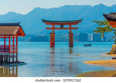 Tori gate of Itsukushima Shrine on Miyajima Island, Hiroshima, Japan