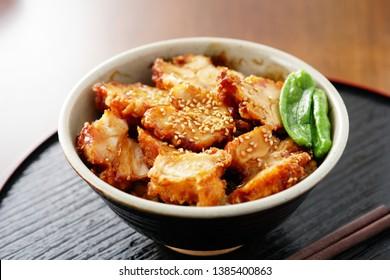 Tori Karaage Don. Deep-fried Chicken Rice Bowl.