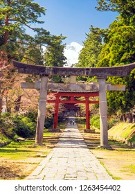 Torii, an approach, the Iwakisan shrine (vertical composition)