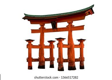The torii gate of Itsukushima Shrine (Miyajima, Japan) isolated on white background