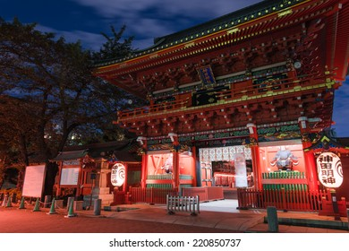 Tor-ii gate at night(Traditional instrument of Tokyo) Traditional cultural facilities of Japan