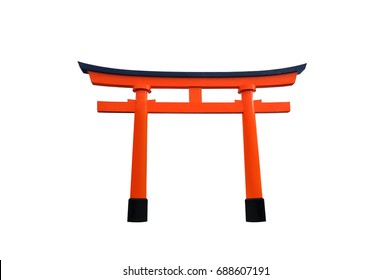 Torii gate, red japanese wooden gate isolated on white background