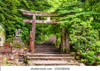 Torii gate and steps of Daisho in temple, Miyajima Island, Western Honshu, Japan.