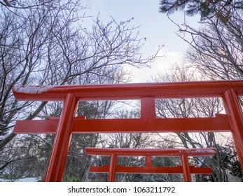 Torii gates at Sapporo Fushimi Inari Shrine in winter, Hokkaido, Japan