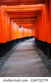 Torii path (Senbon torii) at the Fushimi Inari-taisha, connecting the inner and outer shrines in Kyoto, Japan.
