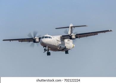 TORINO CASELLE AIRPORT - July 19, 2017 ATR 42-500 Maritime Patrol Italian Guardia di Finanza Italiana land at Turin Airport, Italy, to maintenence of equipment and airplane made by Leonardo Aircraft.