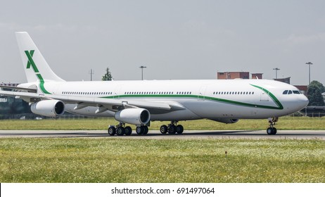 TORINO CASELLE AIRPORT - July 20, 2017: Air X Charter Airbus A340-300 9H-BIG departed from Turin airport to bring the Football Team Juventus in United State of America to play a series of match.