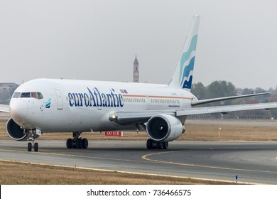 TORINO CASELLE AIRPORT - October 17, 2017. EuroAtlantic Boeing 767-300 landed at Turin Airport for transport The Lisbon Football Team. 18/10/2017 the match vs Juventus Team of UEFA Champions League.