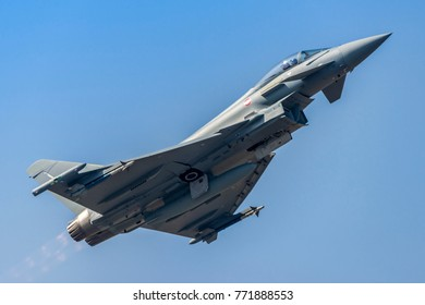 TORINO CASELLE AIRPORT, October 5, 2017. Eurofighter Typhoon 2000 MM7349 depart from Turin for a test flight operated by Leonardo Aircraft (ex Alenia Aermacchi, Finmeccanica). Fast, vertical take-off