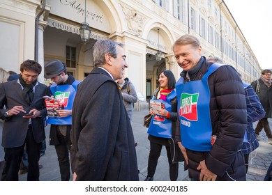 Torino - Italy - 11.03.2017 - Meeting of Forza Italia supporters with the politician Maurizio Gasparri for the campaign of the political party of Silvio Berlusconi, in Piazza San Carlo, Torino