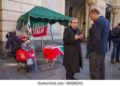 Torino - Italy - 11.03.2017 - the politician Maurizio Gasparri talks in front of the Forza Italia stand of the campaign of the political party of Silvio Berlusconi, in Piazza San Carlo, Torino