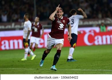 Torino, Italy - 16th September, 2019.  Italian Serie A. Torino Fc vs Us Lecce . Andrea Belotti of Torino FC celebrate after scoring a goal.
