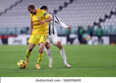 Torino, Italy. 21th November 2020. Ragnar Klavan of Cagliari Calcio in action   during the  Serie A match  between Juventus Fc and Cagliari Calcio.