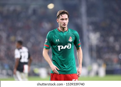 Torino, Italy. 22th October 2019 . Uefa Champions League Group D . Juventus Fc vs Fc Lokomotiv Moskva.  Aleksej Mirancuk  of Fc Lokomotiv Moskva.