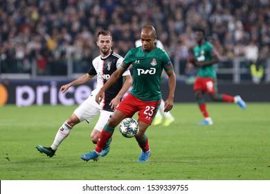 Torino, Italy. 22th October 2019 . Uefa Champions League Group D . Juventus Fc vs Fc Lokomotiv Moskva.  Joao Mario  of Fc Lokomotiv Moskva.