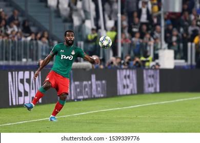 Torino, Italy. 22th October 2019 . Uefa Champions League Group D . Juventus Fc vs Fc Lokomotiv Moskva.  Brian Idowu  of Fc Lokomotiv Moskva.
