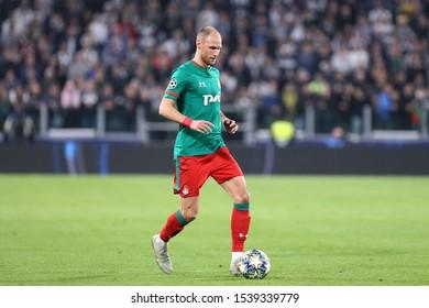 Torino, Italy. 22th October 2019 . Uefa Champions League Group D . Juventus Fc vs Fc Lokomotiv Moskva.  Benedikt Howedes  of Fc Lokomotiv Moskva.