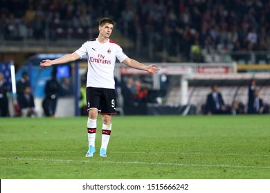 Torino, Italy. 26th September 2019. Italian Serie A . Torino Fc vs Ac Milan. Krzysztof Piatek  of Ac Milan.