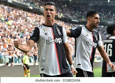 Torino , Italy . 28th September 2019 . Italian Serie A. Juventus Fc vs Spal.  Cristiano Ronaldo of Juventus FC celebrate after scoring a goal .