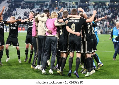 Torino, Italy - April 16,2019. Uefa Champions League 2018/19 quarter final second leg. Juventus Fc vs Afc Ajax.   Players of Afc Ajax celebrate at the end of the match.