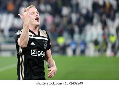 Torino, Italy - April 16,2019. Uefa Champions League 2018/19 quarter final second leg. Juventus Fc vs Afc Ajax . Donny van de Beek  of Afc Ajax  celebrate.