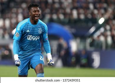 Torino, Italy - April 16,2019. Uefa Champions League 2018/19 quarter final second leg. Juventus Fc vs Afc Ajax . Andre Onana  of Afc Ajax celebrate.