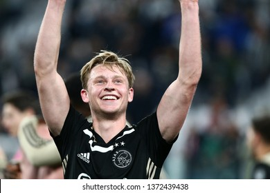 Torino, Italy - April 16,2019. Uefa Champions League 2018/19 quarter final second leg. Juventus Fc vs Afc Ajax . Frenkie de Jong  of Afc Ajax celebrate.