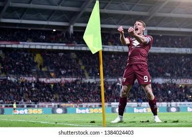 Torino, Italy - April 28, 2019.  Italian Serie A. Torino Fc vs Ac Milan . Andrea Belotti of Torino FC celebrate after scoring a goal.