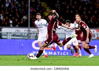 Torino, Italy - April 28, 2019.  Italian Serie A. Torino Fc vs Ac Milan . Andrea Belotti of Torino FC in action.