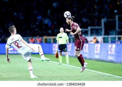 Torino, Italy - April 28, 2019.  Italian Serie A. Torino Fc vs Ac Milan . Cristian Ansaldi  of Torino FC in action.