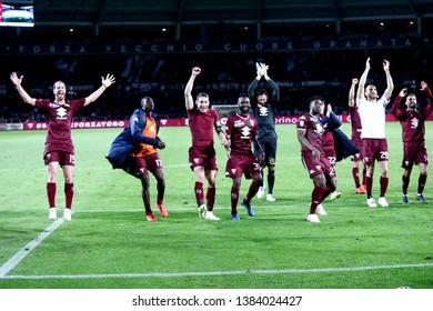 Torino, Italy - April 28, 2019.  Italian Serie A. Torino Fc vs Ac Milan . Players of of Torino FC celebrate  .