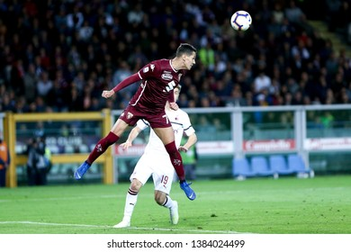 Torino, Italy - April 28, 2019.  Italian Serie A. Torino Fc vs Ac Milan . Sasa Lukic of Torino FC in action.