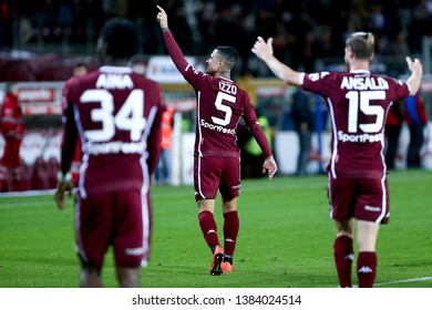 Torino, Italy - April 28, 2019.  Italian Serie A. Torino Fc vs Ac Milan . Armando Izzo of Torino FC in action.