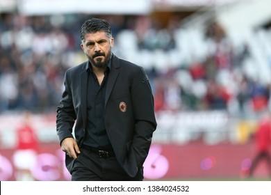 Torino, Italy - April 28, 2019.  Italian Serie A. Torino Fc vs Ac Milan . Gennaro Gattuso, head coach of Ac Milan  .