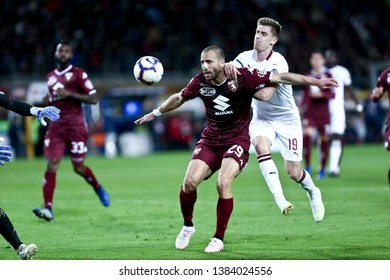 Torino, Italy - April 28, 2019.  Italian Serie A. Torino Fc vs Ac Milan . Lorenzo De Silvestri of Torino FC  .